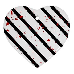 Elegant black, red and white lines Ornament (Heart)