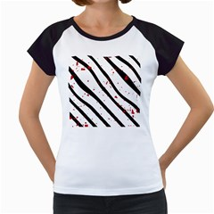 Elegant black, red and white lines Women s Cap Sleeve T