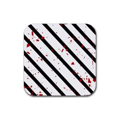 Elegant black, red and white lines Rubber Square Coaster (4 pack)