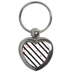 Elegant black, red and white lines Key Chains (Heart)