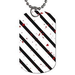 Elegant black, red and white lines Dog Tag (One Side)