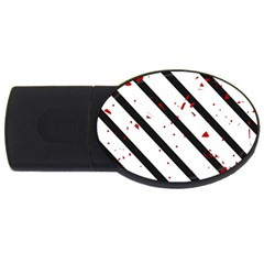 Elegant black, red and white lines USB Flash Drive Oval (1 GB)
