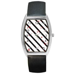Elegant black, red and white lines Barrel Style Metal Watch