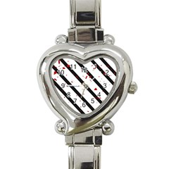 Elegant black, red and white lines Heart Italian Charm Watch
