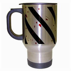 Elegant black, red and white lines Travel Mug (Silver Gray)