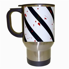 Elegant black, red and white lines Travel Mugs (White)