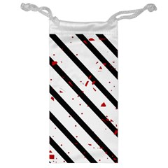 Elegant black, red and white lines Jewelry Bags