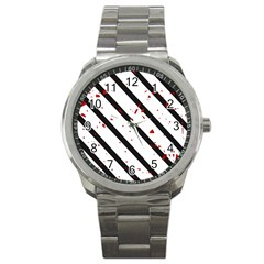 Elegant black, red and white lines Sport Metal Watch