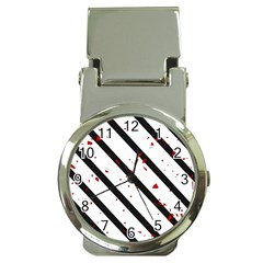 Elegant black, red and white lines Money Clip Watches