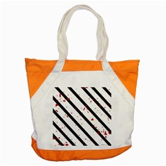 Elegant Black, Red And White Lines Accent Tote Bag