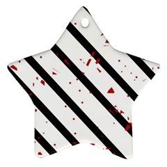 Elegant black, red and white lines Star Ornament (Two Sides)