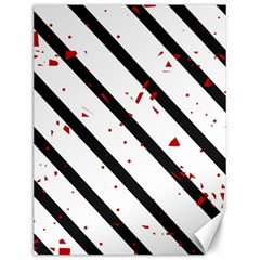 Elegant black, red and white lines Canvas 12  x 16