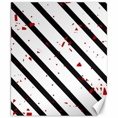 Elegant black, red and white lines Canvas 20  x 24