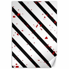 Elegant black, red and white lines Canvas 20  x 30