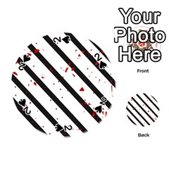Elegant black, red and white lines Playing Cards 54 (Round)
