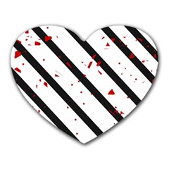 Elegant black, red and white lines Heart Mousepads