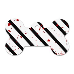 Elegant black, red and white lines Dog Tag Bone (One Side)