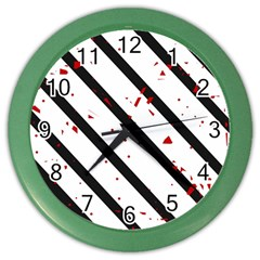 Elegant black, red and white lines Color Wall Clocks