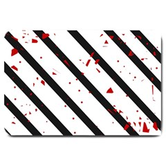 Elegant black, red and white lines Large Doormat