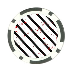 Elegant black, red and white lines Poker Chip Card Guards