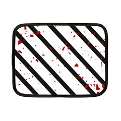Elegant black, red and white lines Netbook Case (Small)