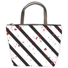 Elegant black, red and white lines Bucket Bags
