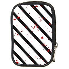 Elegant black, red and white lines Compact Camera Cases