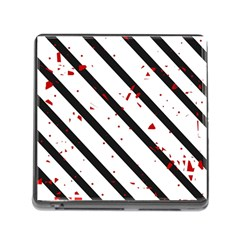 Elegant black, red and white lines Memory Card Reader (Square)
