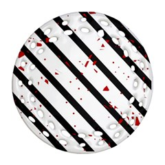 Elegant black, red and white lines Ornament (Round Filigree)