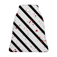 Elegant black, red and white lines Ornament (Bell)