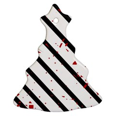 Elegant black, red and white lines Christmas Tree Ornament (2 Sides)