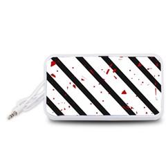 Elegant black, red and white lines Portable Speaker (White)