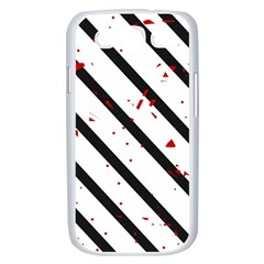 Elegant black, red and white lines Samsung Galaxy S III Case (White)
