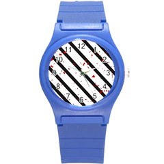 Elegant black, red and white lines Round Plastic Sport Watch (S)