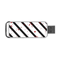 Elegant black, red and white lines Portable USB Flash (One Side)