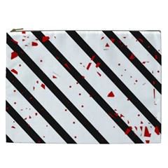 Elegant black, red and white lines Cosmetic Bag (XXL)