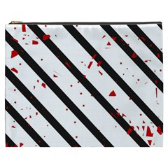 Elegant black, red and white lines Cosmetic Bag (XXXL)