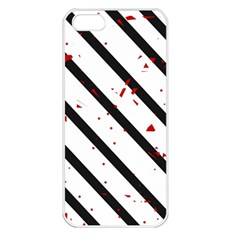 Elegant black, red and white lines Apple iPhone 5 Seamless Case (White)