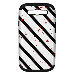 Elegant black, red and white lines Samsung Galaxy S III Hardshell Case (PC+Silicone)
