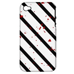 Elegant black, red and white lines Apple iPhone 4/4S Hardshell Case (PC+Silicone)