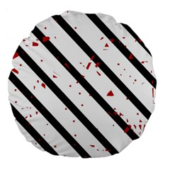 Elegant black, red and white lines Large 18  Premium Round Cushions