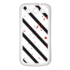 Elegant black, red and white lines Samsung Galaxy S3 Back Case (White)