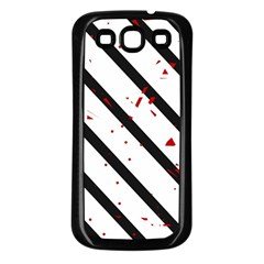Elegant black, red and white lines Samsung Galaxy S3 Back Case (Black)