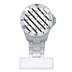 Elegant black, red and white lines Plastic Nurses Watch