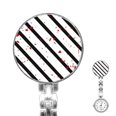 Elegant black, red and white lines Stainless Steel Nurses Watch