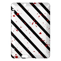 Elegant black, red and white lines Kindle Fire HDX Hardshell Case