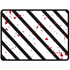 Elegant black, red and white lines Double Sided Fleece Blanket (Large)