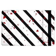Elegant black, red and white lines iPad Air Flip