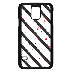 Elegant black, red and white lines Samsung Galaxy S5 Case (Black)