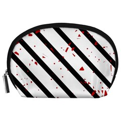 Elegant black, red and white lines Accessory Pouches (Large)